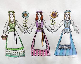 SALE Lithuanian Art Lietuvaites Serigraph by Rima Macikunas Three Sisters