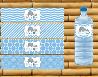 Water Bottle Labels - Printable - Instant Download - It's A Boy - Blue With Elephants - TFD147