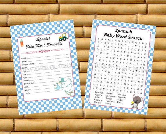 unique baby shower games spanish word scramble and word search