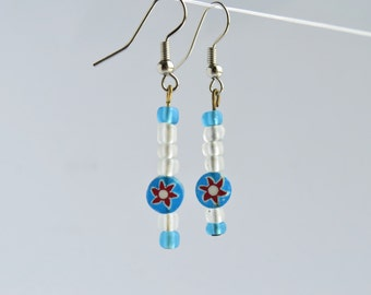 Blue and White Dangle Earrings featuring a Sun Glass Bead