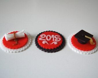 Fondant Graduation Cupcake Toppers (Set of 12)