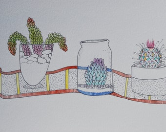 "9x12 painting ""Succulents in Glass Jars"""