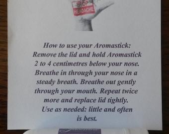 Aromatherapy Inhaler - Hand Blended to Order Headache/Stress/Diet/Smoking/Travel/Decongest