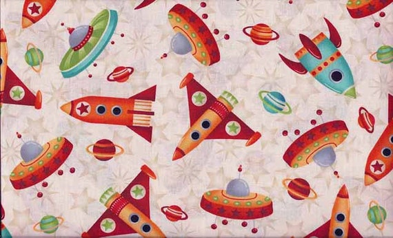 Planetary party children 39 s fabric alien fabric space for Kids space fabric