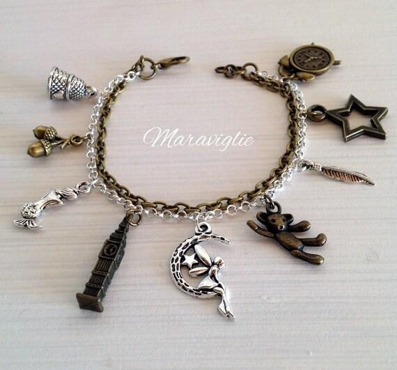 Peter Pan Charm Bracelet Tinkerbell Jewelry By Maraviglie
