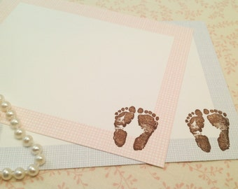 Baby Footprints Thank You Note Cards-Cards Thank You Notes-Set of 10
