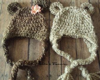 Twin baby bear Crocheted Hat.Photo Prop. Newborn.Teddy bear Set