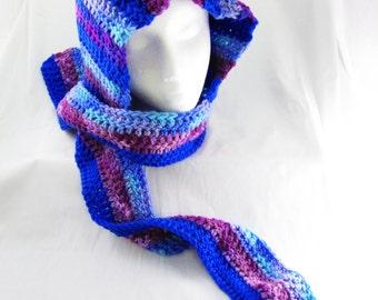 Purple, Blue, Variegated, Striped Hooded Scarf