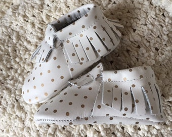 White Moccasin with Gold Polka Dot Design