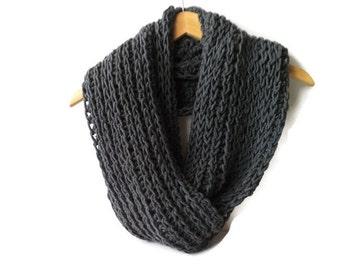 Grey crochet cowl, charcoal scarf, triple luxe cowl, infinity scarf, crochet circle scarf, chunky crochet cowl, warm winter scarf, wool cowl