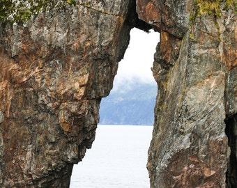Alaska Seascape, Kenai Fjord Alaska, Cliffs, Hole in the Rock, Seward Alaska, Fine Art Photography, Fine Art Seascape, The Door