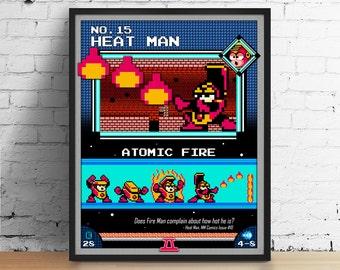 Mega Man poster, Nintendo art, video game poster, classic game print, pixel art, Heat Man, kids room poster, game room art