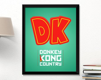 Donkey Kong, video game poster, Donkey Kong print, Nintendo poster, geek print, classic game, kids room art