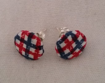 Red and blue checkered fabric earrings