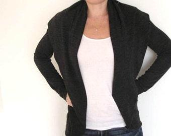 Womens Clothing-Black Cardigan, Womens Black Jacket,Black Oversized Cardigan,Black sweater,Womens Tops