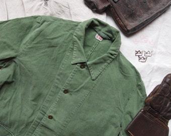 Vintage 60s swedish army workwear chore jacket