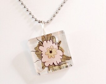 Pink floral glass pendant