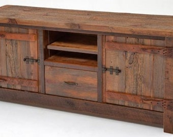 Rustic Reclaimed Barnwood Entertainment Center Hertiage Collection