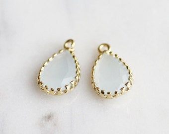 A2-013-G-AB] Alice Blue / Teardrop / 8 x 14mm / Gold plated / Glass Pendant /  2 pieces