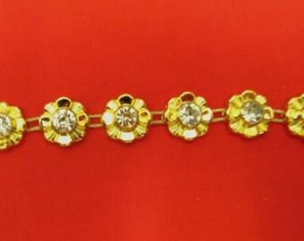 Stunning Crystal Beaded Rhinestone Diamante Ribbon Trim Bridal Wedding Chain- Gold 1401