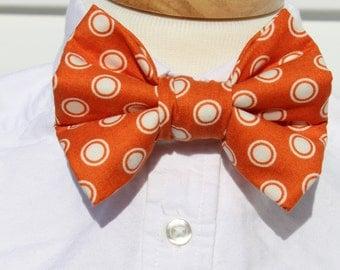 Little Boy Bow Tie with Adjustable Velcro  Neck Band Orange Dot