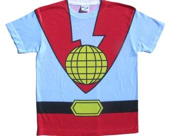 Kids' Shirt Costume Inspired by Captain Planet - Children, Toddler, Baby, Tee, T-Shirt, Cosplay, 90's Cartoon, Superhero, Geek Clothes, Nerd