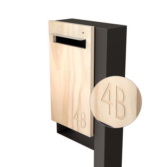 Modern Custom Mailbox - Javi Post Mount Letterbox - Charcoal Aluminium Body + Post, Stainless Steel Visor and Hardware + Timber front.