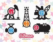 Oilman Monogram Labels (SVG, EPS, DXF Studio3) Oil Derrick, Oil Rig Cut Files for Silhouette Studio, Cricut Design Space, Cutting Machines