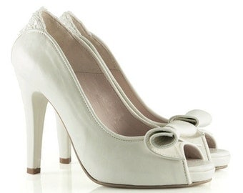 Bridal White Leather&Lace Peep-toe Pumps