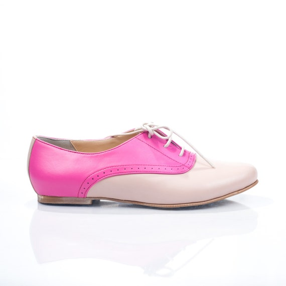 Mika Pink Leather Oxford Shoes