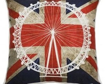 London Eye Stamp Cushion. 35x35 CM.  High Quality UK Made Unique Brit Inspired Cushions From The True Brit Collection.