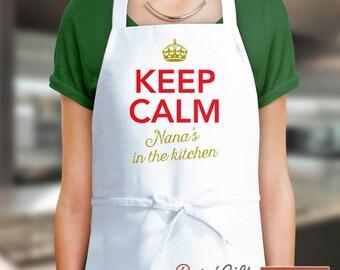Nana Gift, Birthday Gift For Nana! Funny Apron, Keep Calm, Nanas Kitchen, Cooking Gift, Awesome Nana, Personalized, Alternative Nana Shirt