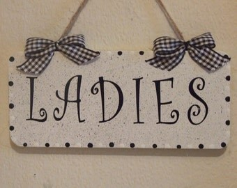 Lovely Decorative Hand crafted Wooden door sign for your toilet Ladies / Gents