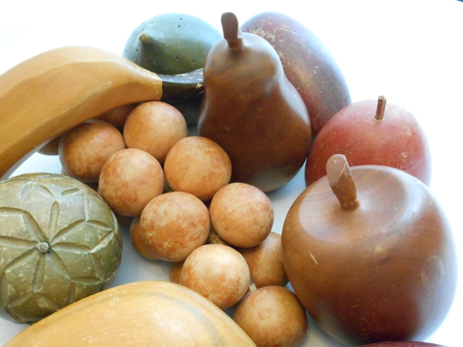 Mid century hand carved wooden fruit piece set by