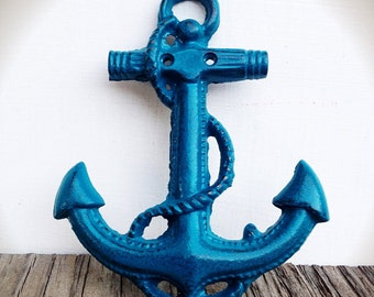BOLD tropical lagoon teal blue green NAUTICAL anchor wall hanging // coastal beach house decor // SHABBY cottage chic // cast iron