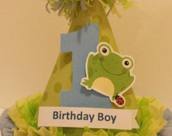 1st Birthday Boy Girl Cute Frog Party Hat