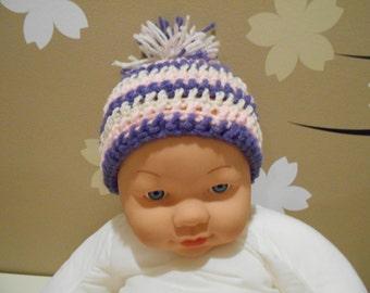 Baby Girl Pink, White & Purple Hat - Newborn - 24 Months