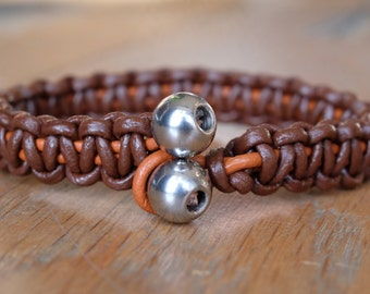 Leather Men's Bracelet Knotted Brown