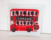 Souvenir of London double decker bus glass tray