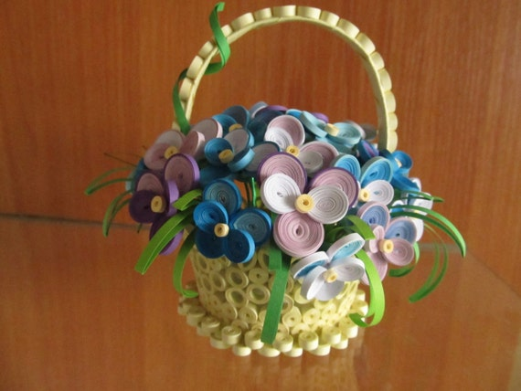 Quilling Home Decor: Quilling Basket With Violets Handmade Home Decor 3D