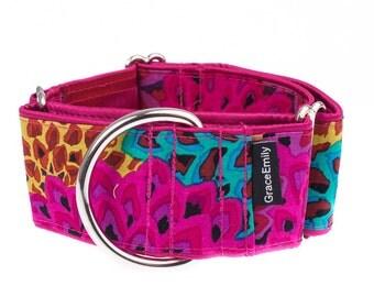 Pink Martingale collar, greyhound collar, 2 inch, dog collar, pink,martingale collars