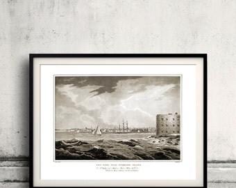New York, from Governors Island - 1821 - Fine Art Glicée Poster Digital Wall art Illustration Print Decorative- SKU 0127