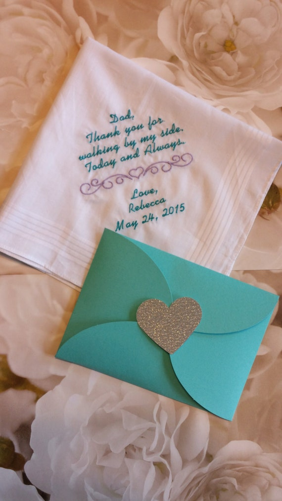 Wedding Gifts For Father Of Bride : ... Wedding Handkerchief. Gift from Bride to Dad. Fathers Gift. Free Gift