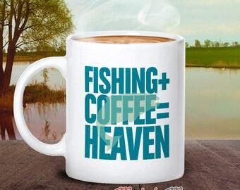 Fishing Gift, Fisherman Gift, Gift For Fisherman, Gone Fishing With Fishing Mug, With Fishing Quote, Fishing, + Coffee = Heaven, Fish Glass