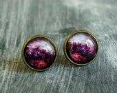 Pink Galaxy Earrings, Stud Earings, Brass Earings, Galaxy Studs, Brass Earrings, Stud Earrings, Glass Dome Earrings, Post Earings