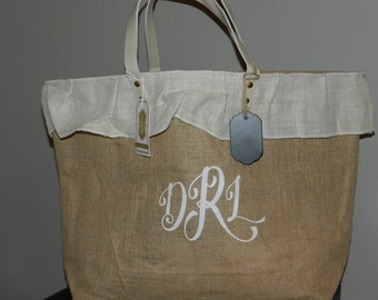 Large Burlap Bag/Tote with Chalkboard Tag