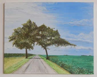 Trees in Field Painted with Acrylic Paint on Canvas 16x20 in