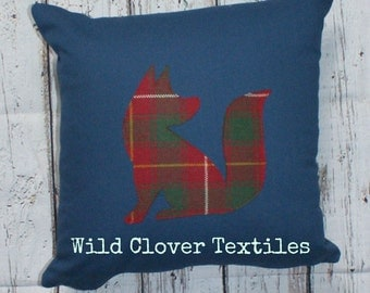 Handcrafted Fox Cushion with tartan