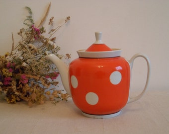 Large Soviet Porcelain- Polka Dots Teapot . Retro kitchen Decor from 1970-s - made in USSR