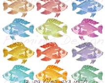 Watercolour Digital Clipart fishes 12 watercolour clipart elements, Art Digital Clipart Fish Party Instant Download